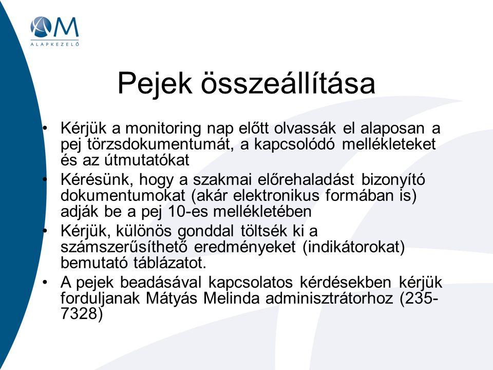 Pejek összeállítása Kérjük a monitoring nap előtt olvassák el alaposan a pej törzsdokumentumát, a kapcsolódó mellékleteket és az útmutatókat Kérésünk,
