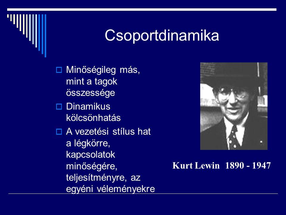 Csoportdinamika  Minőségileg más, mint a tagok összessége  Dinamikus kölcsönhatás  A vezetési stílus hat a légkörre, kapcsolatok minőségére, teljesítményre, az egyéni véleményekre Kurt Lewin 1890 - 1947