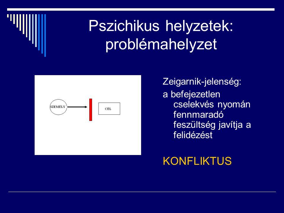 Pszichikus helyzetek: problémahelyzet Zeigarnik-jelenség: a befejezetlen cselekvés nyomán fennmaradó feszültség javítja a felidézést KONFLIKTUS