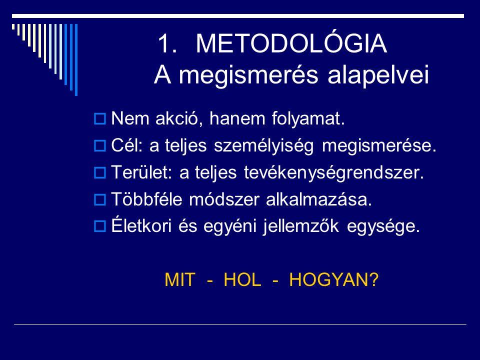1.METODOLÓGIA A megismerés alapelvei  Nem akció, hanem folyamat.  Cél: a teljes személyiség megismerése.  Terület: a teljes tevékenységrendszer. 