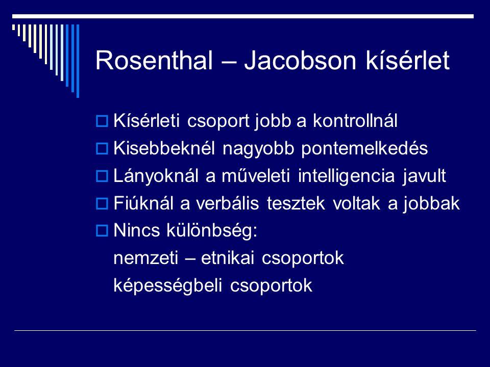 Rosenthal – Jacobson kísérlet  Kísérleti csoport jobb a kontrollnál  Kisebbeknél nagyobb pontemelkedés  Lányoknál a műveleti intelligencia javult 