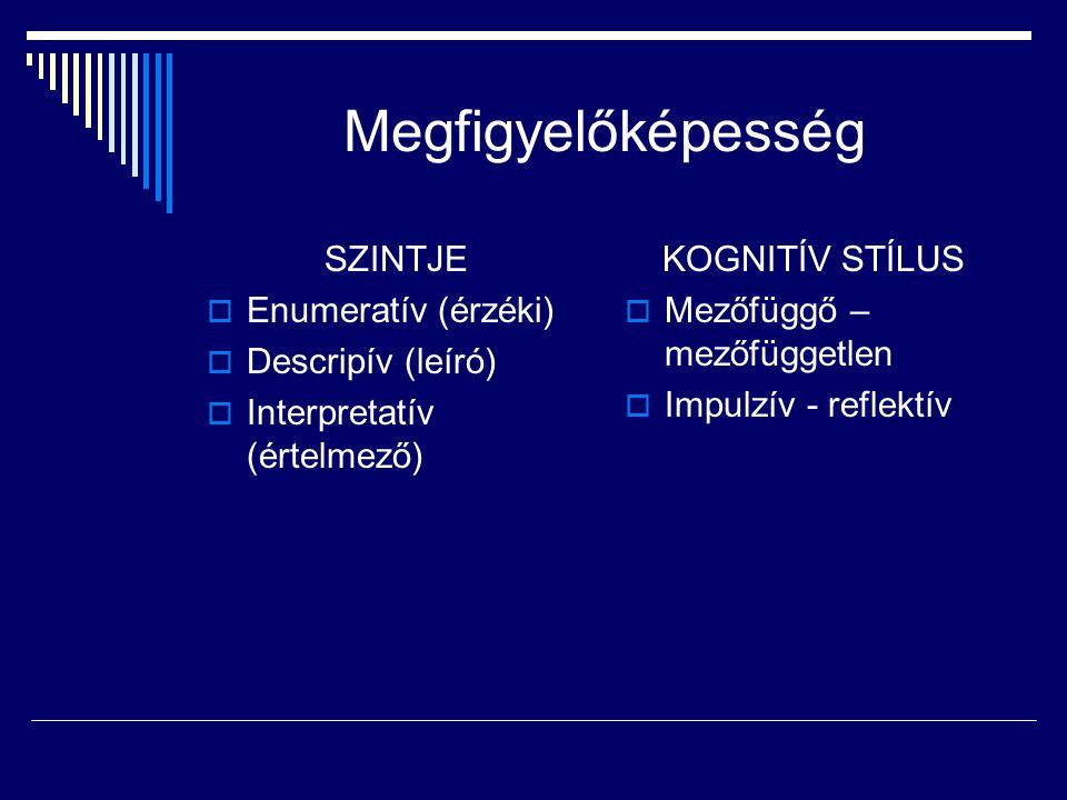 Megfigyelőképesség SZINTJE  Enumeratív (érzéki)  Descripív (leíró)  Interpretatív (értelmező) KOGNITÍV STÍLUS  Mezőfüggő – mezőfüggetlen  Impulzí
