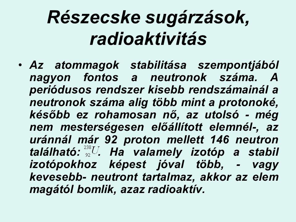 Részecske sugárzások, radioaktivitás Az atommagok stabilitása szempontjából nagyon fontos a neutronok száma. A periódusos rendszer kisebb rendszámainá