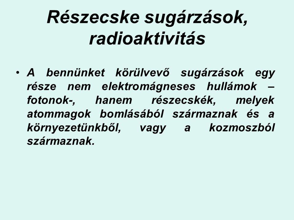 Részecske sugárzások, radioaktivitás A bennünket körülvevő sugárzások egy része nem elektromágneses hullámok – fotonok-, hanem részecskék, melyek atom