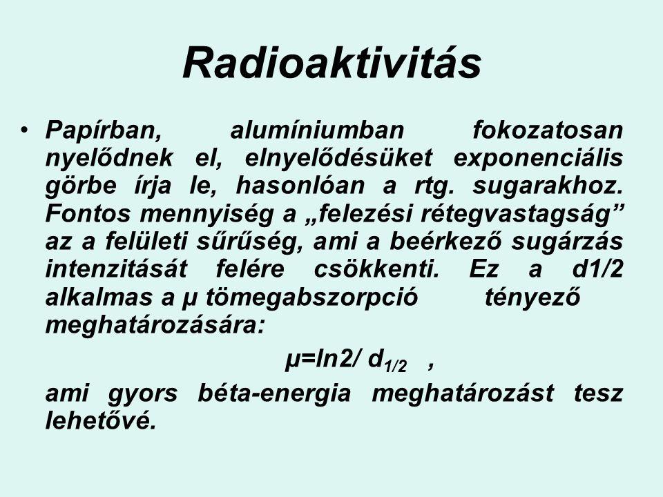 Radioaktivitás Papírban, alumíniumban fokozatosan nyelődnek el, elnyelődésüket exponenciális görbe írja le, hasonlóan a rtg. sugarakhoz. Fontos mennyi
