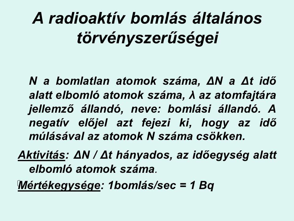 A radioaktív bomlás általános törvényszerűségei N a bomlatlan atomok száma, ΔN a Δt idő alatt elbomló atomok száma, λ az atomfajtára jellemző állandó,