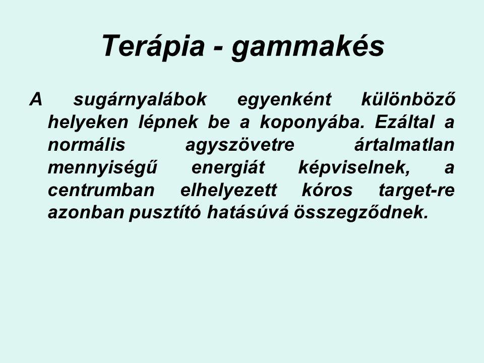 Terápia - gammakés A sugárnyalábok egyenként különböző helyeken lépnek be a koponyába. Ezáltal a normális agyszövetre ártalmatlan mennyiségű energiát