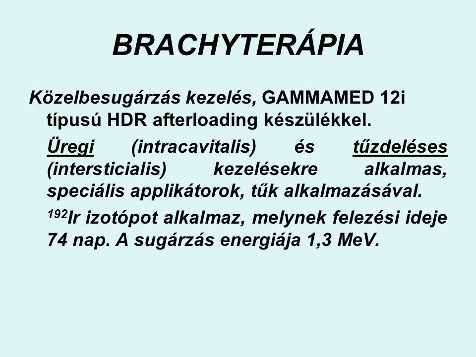 BRACHYTERÁPIA Közelbesugárzás kezelés, GAMMAMED 12i típusú HDR afterloading készülékkel. Üregi (intracavitalis) és tűzdeléses (intersticialis) kezelés