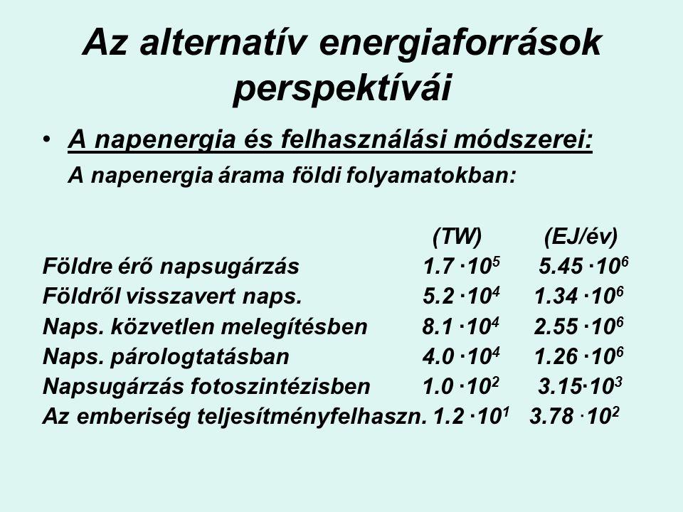 Az alternatív energiaforrások perspektívái A napenergia és felhasználási módszerei: A napenergia árama földi folyamatokban: (TW) (EJ/év) Földre érő na