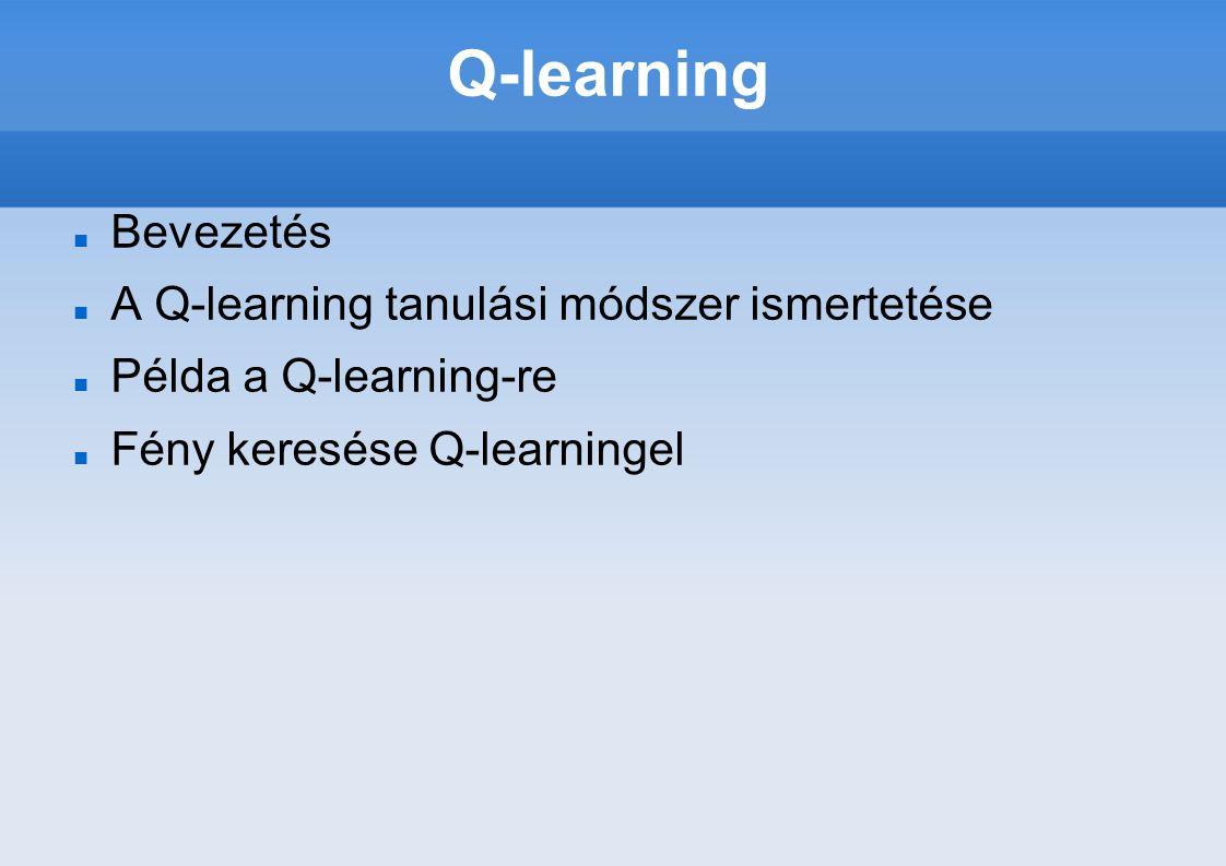 Q-learning Bevezetés A Q-learning tanulási módszer ismertetése Példa a Q-learning-re Fény keresése Q-learningel