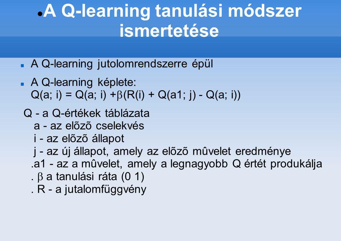 A Q-learning tanulási módszer ismertetése A Q-learning jutolomrendszerre épül A Q-learning képlete: Q(a; i) = Q(a; i) +  (R(i) + Q(a1; j) - Q(a; i)) Q - a Q-értékek táblázata a - az elõzõ cselekvés i - az elõzõ állapot j - az új állapot, amely az elõzõ mûvelet eredménye.a1 - az a mûvelet, amely a legnagyobb Q értét produkálja.