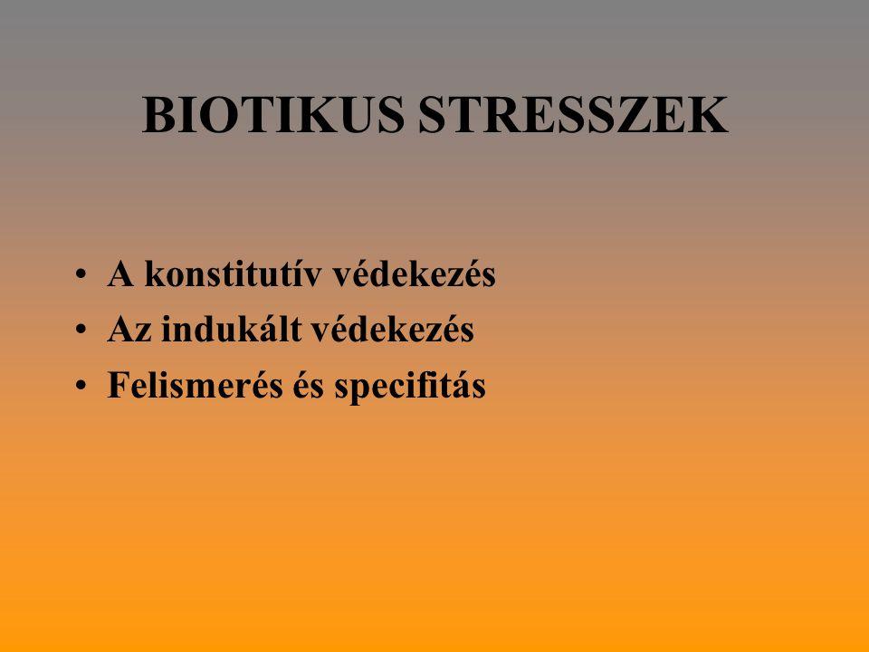 BIOTIKUS STRESSZEK A konstitutív védekezés Az indukált védekezés Felismerés és specifitás