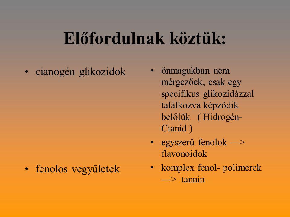 Előfordulnak köztük: cianogén glikozidok fenolos vegyületek önmagukban nem mérgezőek, csak egy specifikus glikozidázzal találkozva képződik belőlük ( Hidrogén- Cianid ) egyszerű fenolok —> flavonoidok komplex fenol- polimerek —> tannin