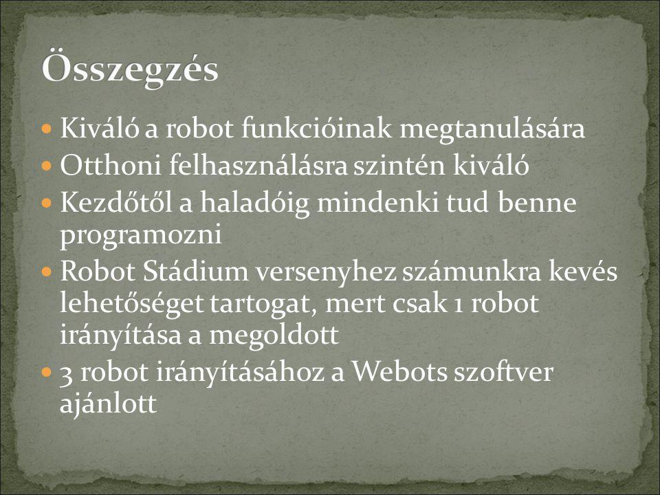 Kiváló a robot funkcióinak megtanulására Otthoni felhasználásra szintén kiváló Kezdőtől a haladóig mindenki tud benne programozni Robot Stádium versenyhez számunkra kevés lehetőséget tartogat, mert csak 1 robot irányítása a megoldott 3 robot irányításához a Webots szoftver ajánlott