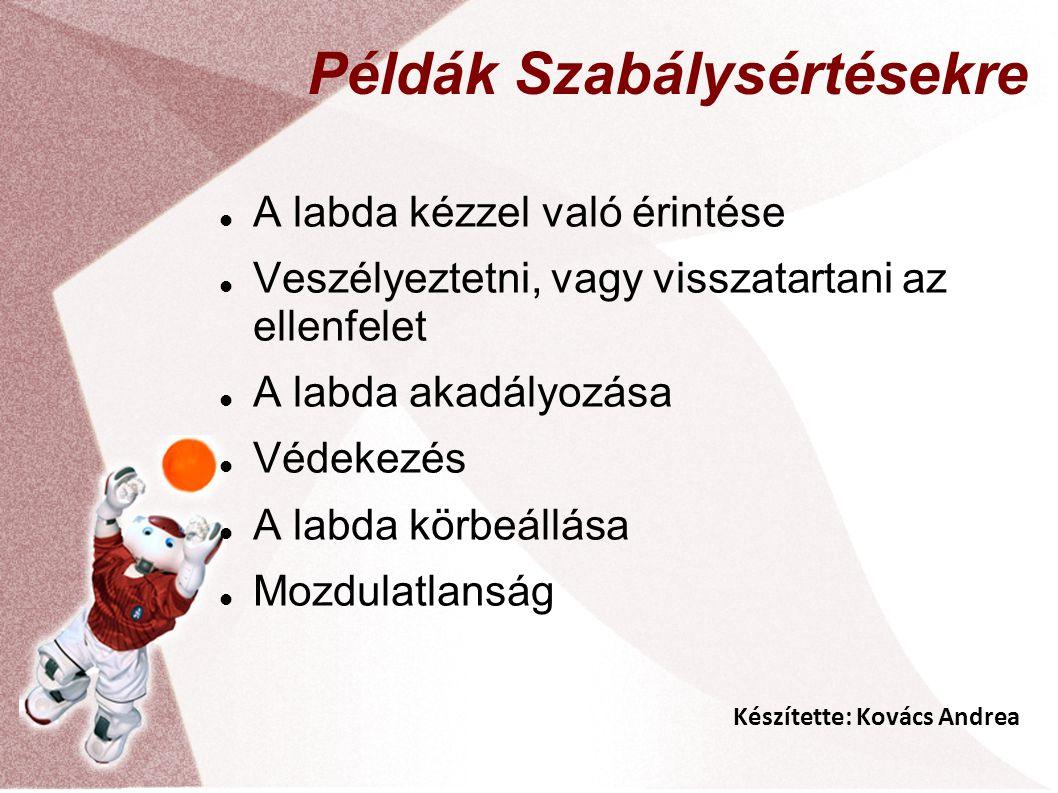 Készítette: Kovács Andrea Példák Szabálysértésekre A labda kézzel való érintése Veszélyeztetni, vagy visszatartani az ellenfelet A labda akadályozása