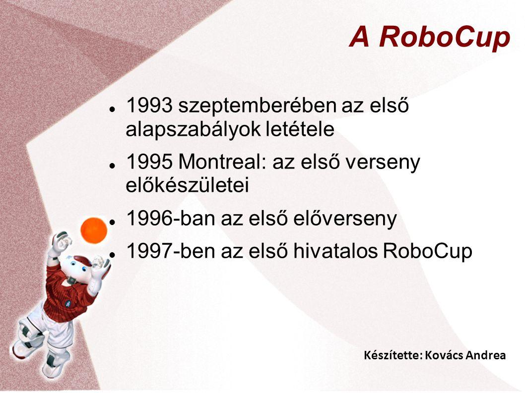 Készítette: Kovács Andrea A RoboCup 1993 szeptemberében az első alapszabályok letétele 1995 Montreal: az első verseny előkészületei 1996-ban az első előverseny 1997-ben az első hivatalos RoboCup