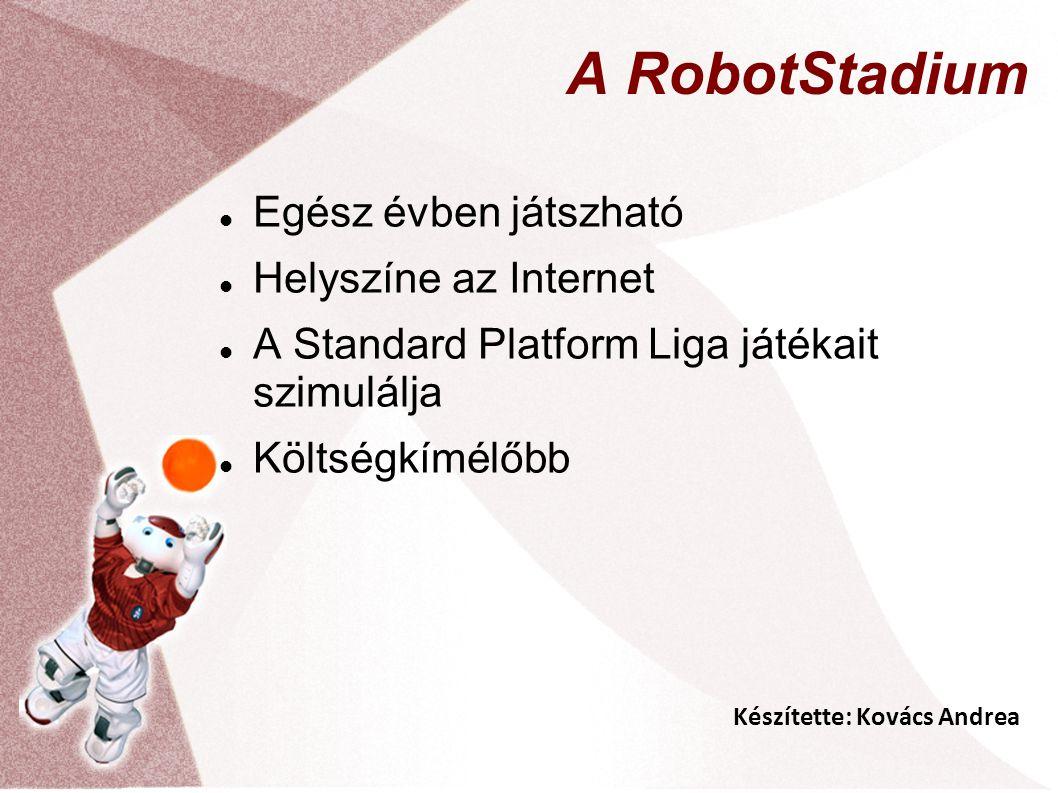 Készítette: Kovács Andrea A RobotStadium Egész évben játszható Helyszíne az Internet A Standard Platform Liga játékait szimulálja Költségkímélőbb
