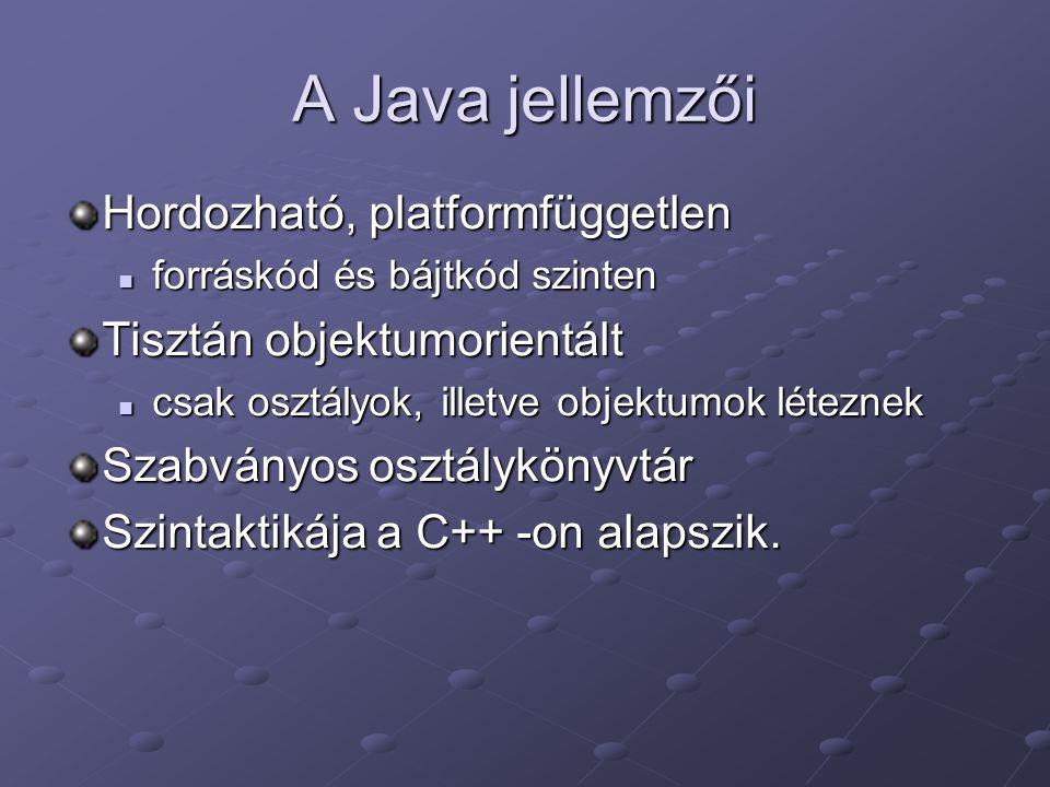 A Java jellemzői Hordozható, platformfüggetlen forráskód és bájtkód szinten forráskód és bájtkód szinten Tisztán objektumorientált csak osztályok, illetve objektumok léteznek csak osztályok, illetve objektumok léteznek Szabványos osztálykönyvtár Szintaktikája a C++ -on alapszik.