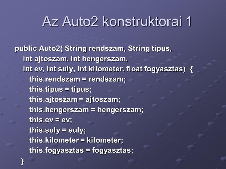Az Auto2 konstruktorai 1 public Auto2( String rendszam, String tipus, int ajtoszam, int hengerszam, int ajtoszam, int hengerszam, int ev, int suly, int kilometer, float fogyasztas) { int ev, int suly, int kilometer, float fogyasztas) { this.rendszam = rendszam; this.rendszam = rendszam; this.tipus = tipus; this.tipus = tipus; this.ajtoszam = ajtoszam; this.ajtoszam = ajtoszam; this.hengerszam = hengerszam; this.hengerszam = hengerszam; this.ev = ev; this.ev = ev; this.suly = suly; this.suly = suly; this.kilometer = kilometer; this.kilometer = kilometer; this.fogyasztas = fogyasztas; this.fogyasztas = fogyasztas; }