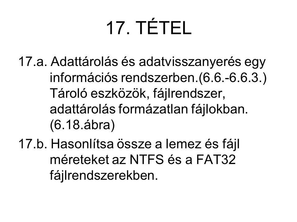 17. TÉTEL 17.a. Adattárolás és adatvisszanyerés egy információs rendszerben.(6.6.-6.6.3.) Tároló eszközök, fájlrendszer, adattárolás formázatlan fájlo