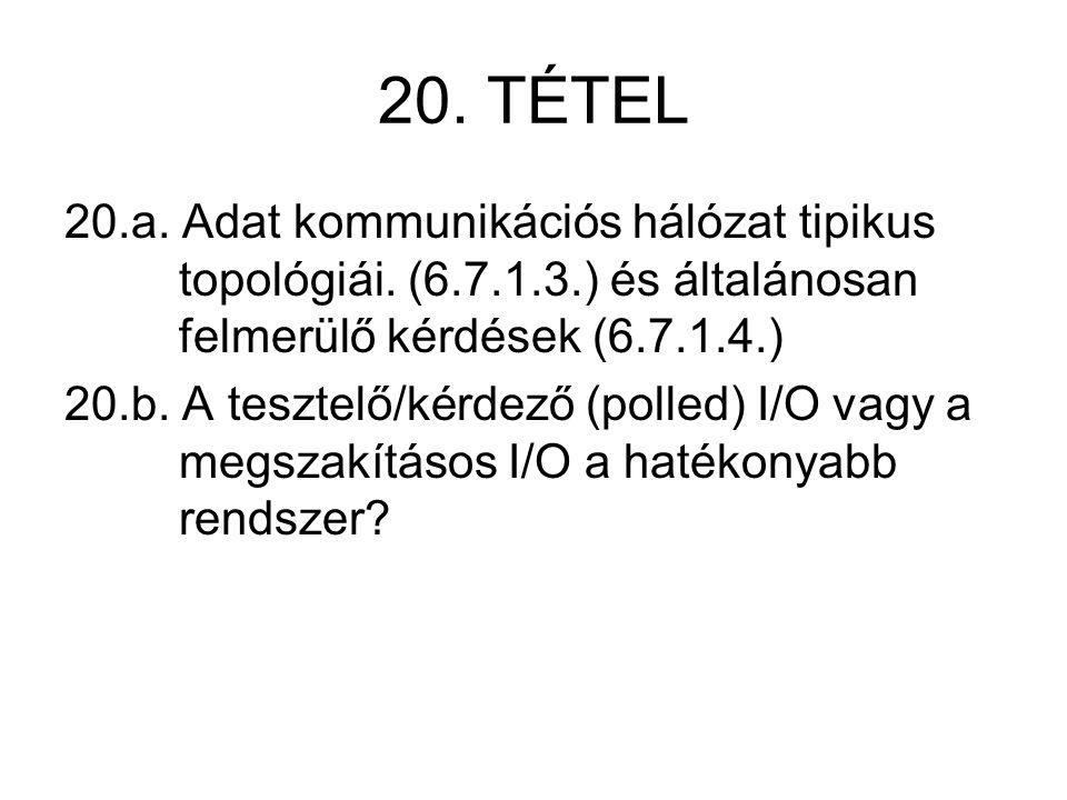 20. TÉTEL 20.a. Adat kommunikációs hálózat tipikus topológiái. (6.7.1.3.) és általánosan felmerülő kérdések (6.7.1.4.) 20.b. A tesztelő/kérdező (polle