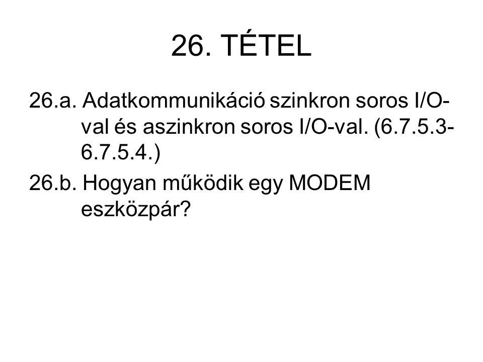 26. TÉTEL 26.a. Adatkommunikáció szinkron soros I/O- val és aszinkron soros I/O-val. (6.7.5.3- 6.7.5.4.) 26.b. Hogyan működik egy MODEM eszközpár?