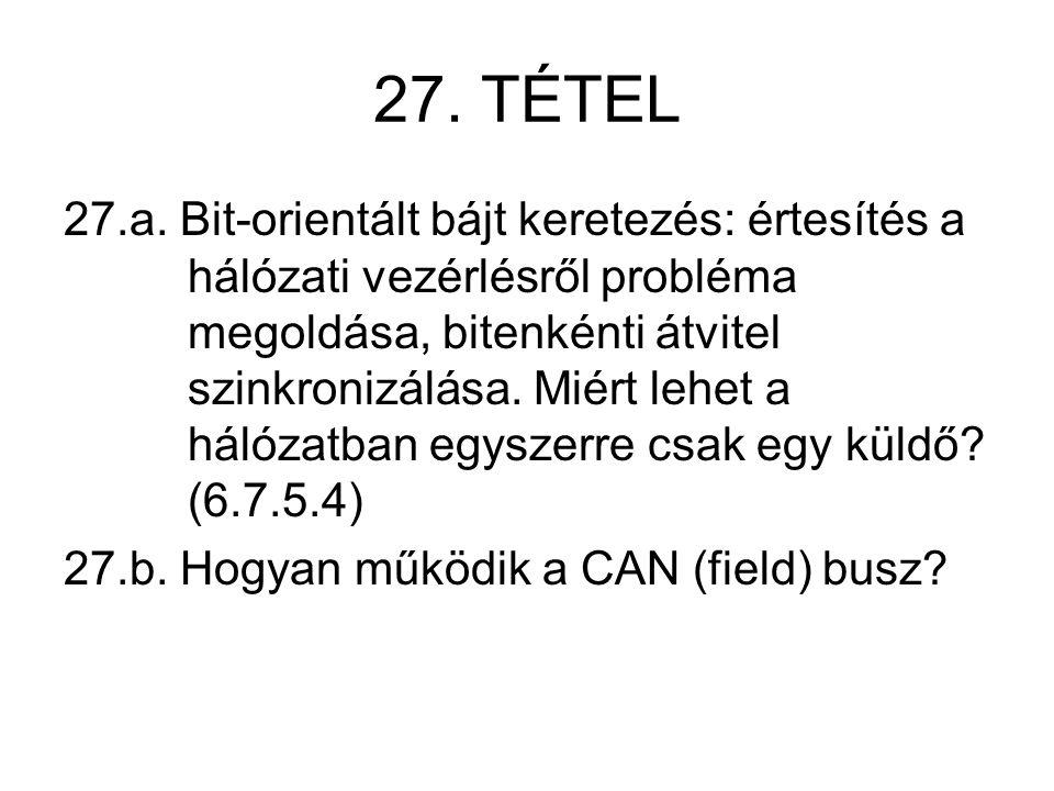 27. TÉTEL 27.a. Bit-orientált bájt keretezés: értesítés a hálózati vezérlésről probléma megoldása, bitenkénti átvitel szinkronizálása. Miért lehet a h