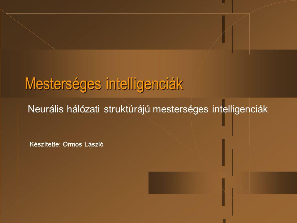 Mesterséges intelligenciák Neurális hálózati struktúrájú mesterséges intelligenciák Készítette: Ormos László