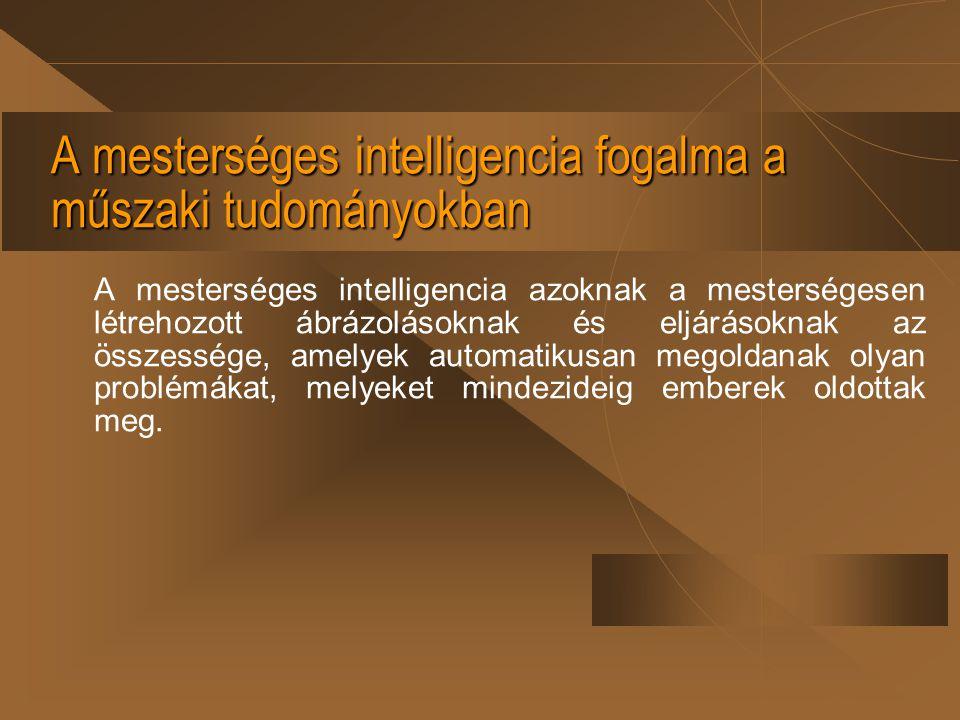 A mesterséges intelligencia fogalma a műszaki tudományokban A mesterséges intelligencia azoknak a mesterségesen létrehozott ábrázolásoknak és eljáráso