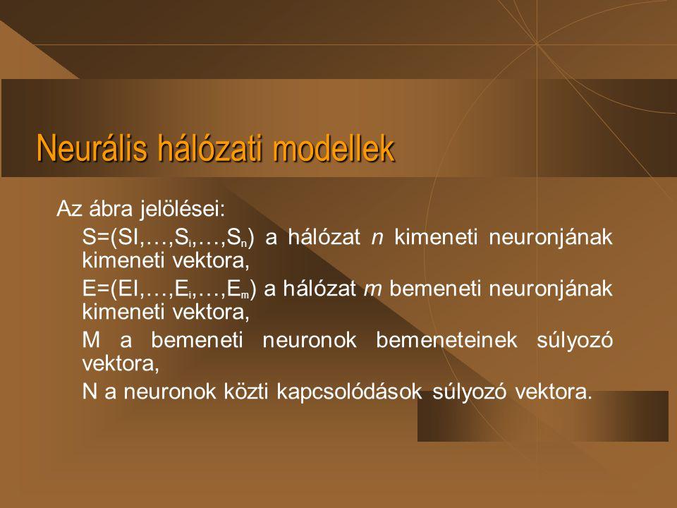 Neurális hálózati modellek Az ábra jelölései: S=(SI,…,S i,…,S n ) a hálózat n kimeneti neuronjának kimeneti vektora, E=(EI,…,E i,…,E m ) a hálózat m b