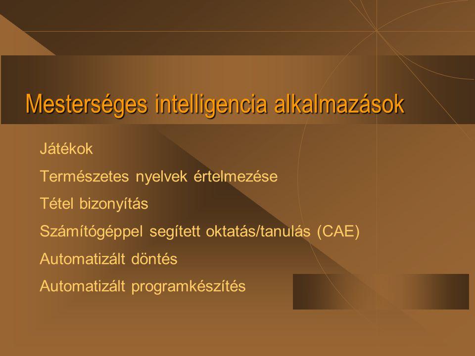 Mesterséges intelligencia alkalmazások Játékok Természetes nyelvek értelmezése Tétel bizonyítás Számítógéppel segített oktatás/tanulás (CAE) Automatiz