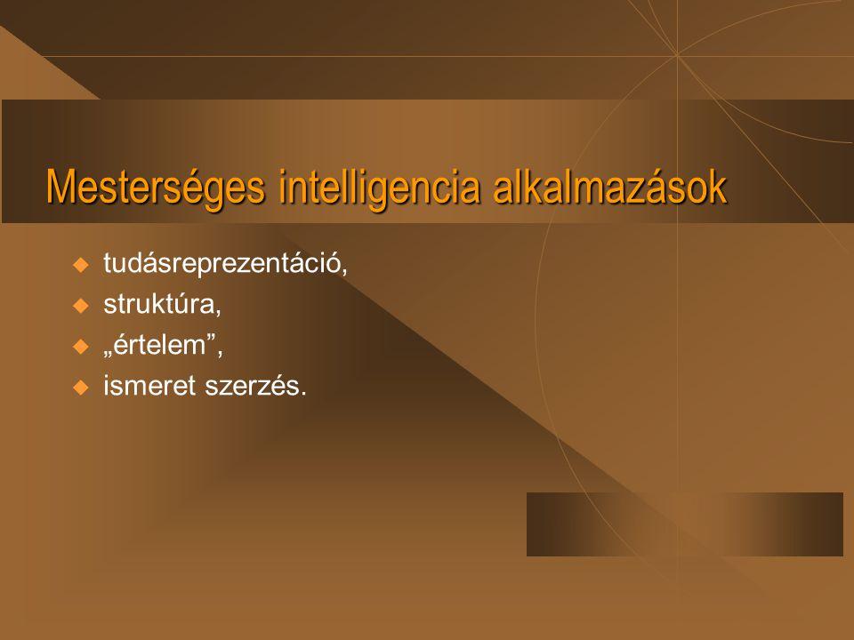 """Mesterséges intelligencia alkalmazások  tudásreprezentáció,  struktúra,  """"értelem"""",  ismeret szerzés."""