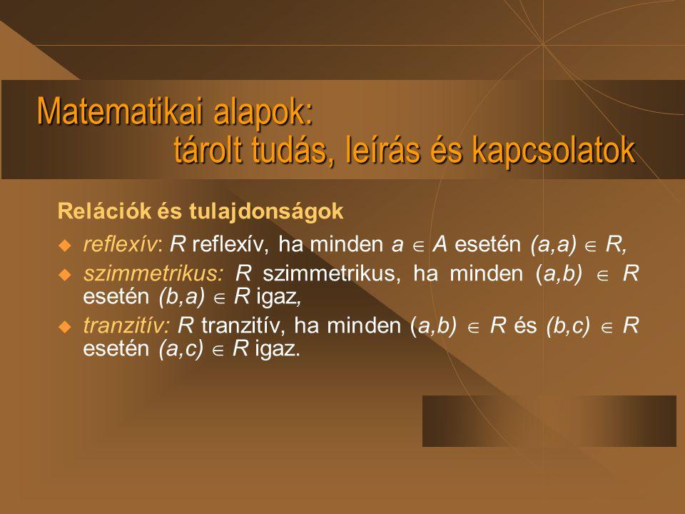 Matematikai alapok: tárolt tudás, leírás és kapcsolatok Relációk és tulajdonságok  reflexív: R reflexív, ha minden a  A esetén (a,a)  R,  szimmetr