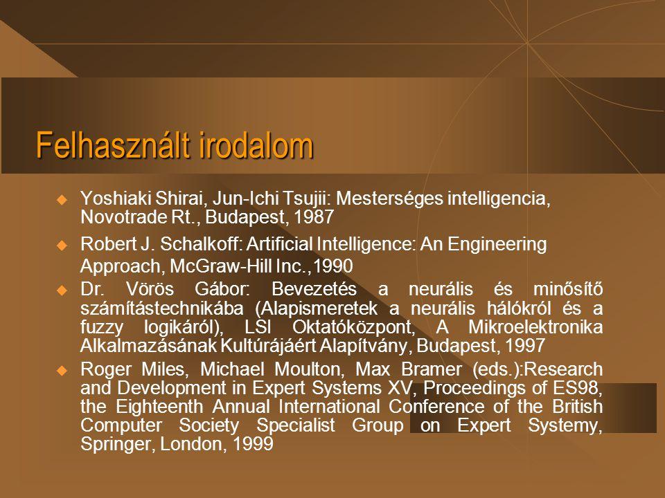 Felhasznált irodalom  Yoshiaki Shirai, Jun-Ichi Tsujii: Mesterséges intelligencia, Novotrade Rt., Budapest, 1987  Robert J. Schalkoff: Artificial In