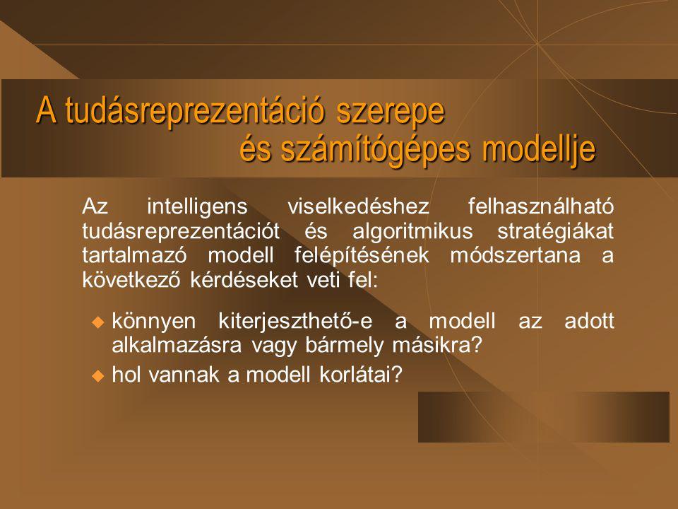 A tudásreprezentáció szerepe és számítógépes modellje Az intelligens viselkedéshez felhasználható tudásreprezentációt és algoritmikus stratégiákat tar