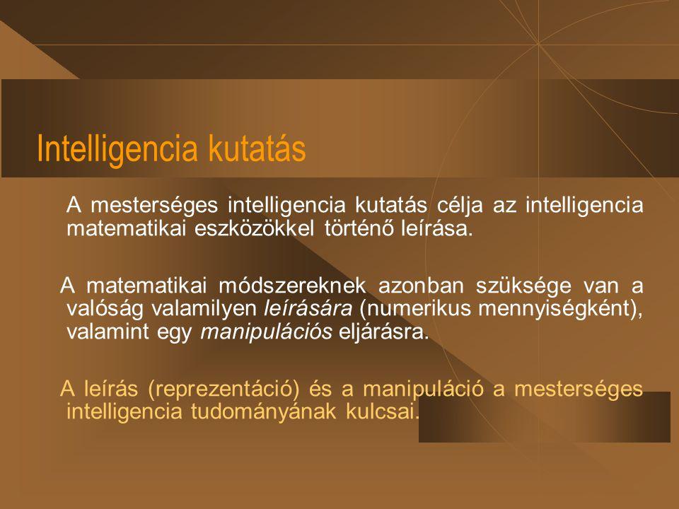 Intelligencia kutatás A mesterséges intelligencia kutatás célja az intelligencia matematikai eszközökkel történő leírása. A matematikai módszereknek a