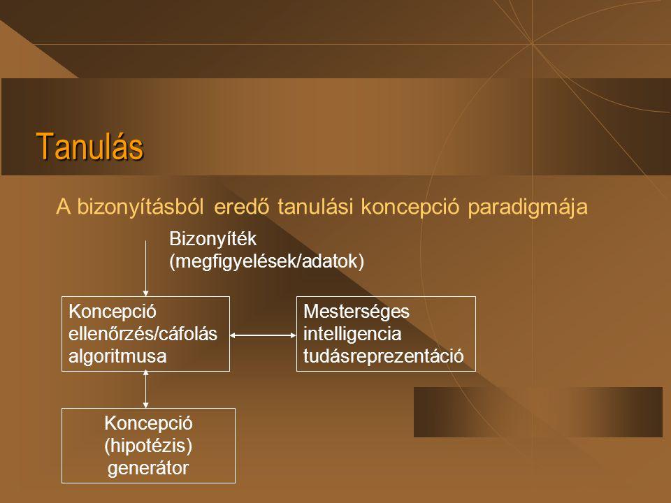 Tanulás A bizonyításból eredő tanulási koncepció paradigmája Koncepció ellenőrzés/cáfolás algoritmusa Koncepció (hipotézis) generátor Mesterséges inte