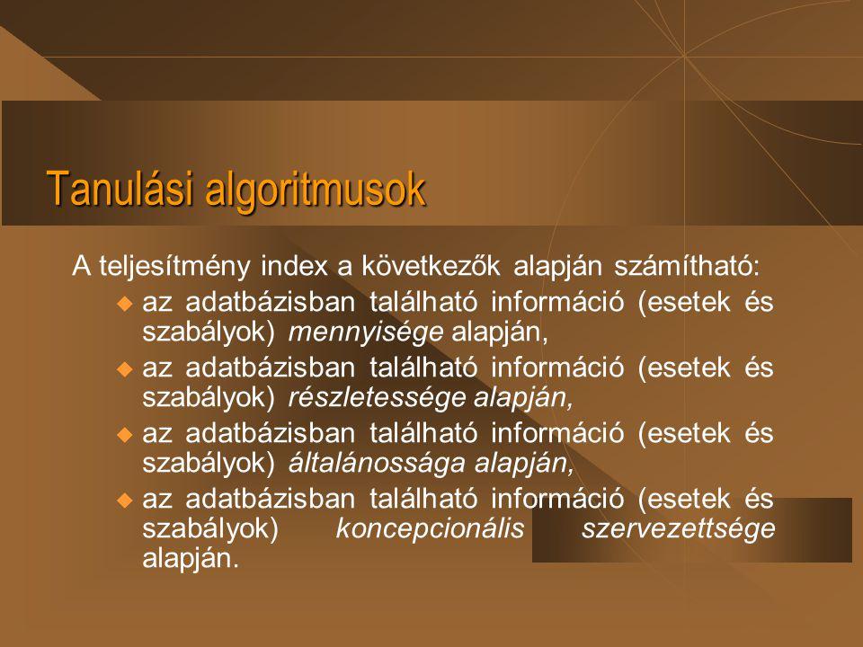 Tanulási algoritmusok A teljesítmény index a következők alapján számítható: u az adatbázisban található információ (esetek és szabályok) mennyisége al