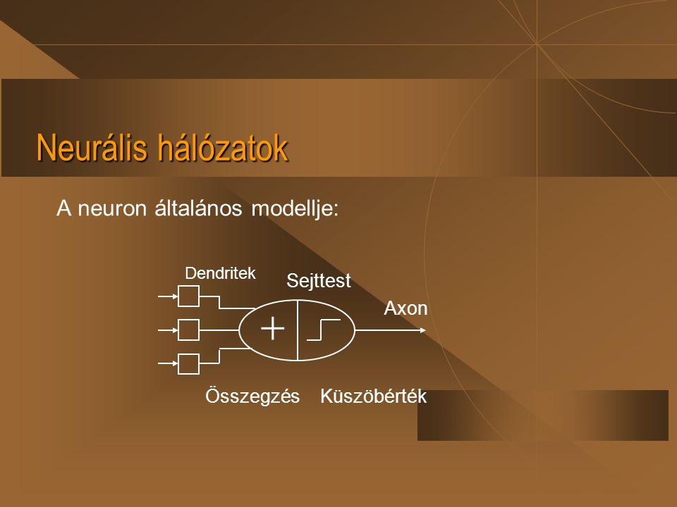 Neurális hálózatok A neuron általános modellje:  Dendritek Sejttest ÖsszegzésKüszöbérték Axon