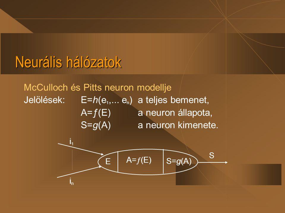 Neurális hálózatok McCulloch és Pitts neuron modellje Jelölések:E=h(e 1,... e n ) a teljes bemenet, A=ƒ(E)a neuron állapota, S=g(A)a neuron kimenete.