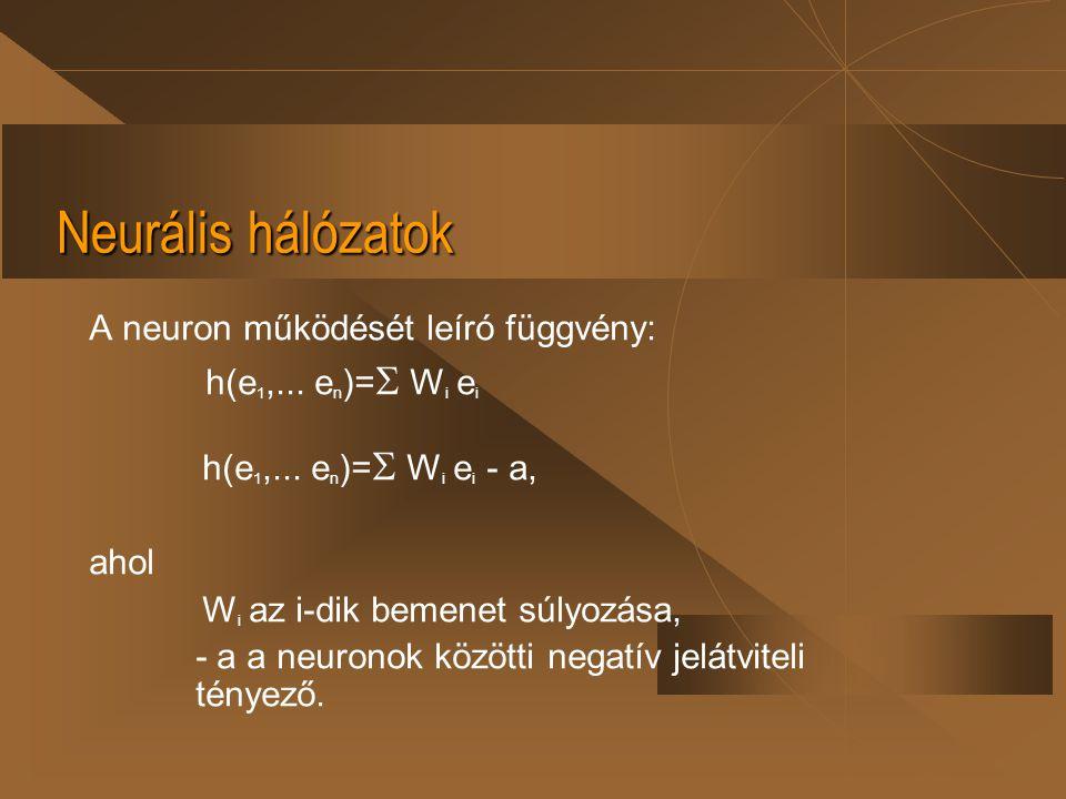 Neurális hálózatok A neuron működését leíró függvény: h(e 1,... e n )=  W i e i h(e 1,... e n )=  W i e i - a, ahol W i az i-dik bemenet súlyozása,
