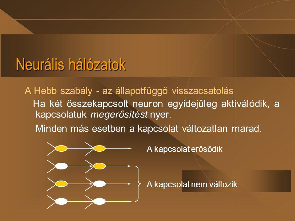 Neurális hálózatok A Hebb szabály - az állapotfüggő visszacsatolás Ha két összekapcsolt neuron egyidejűleg aktiválódik, a kapcsolatuk megerősítést nye