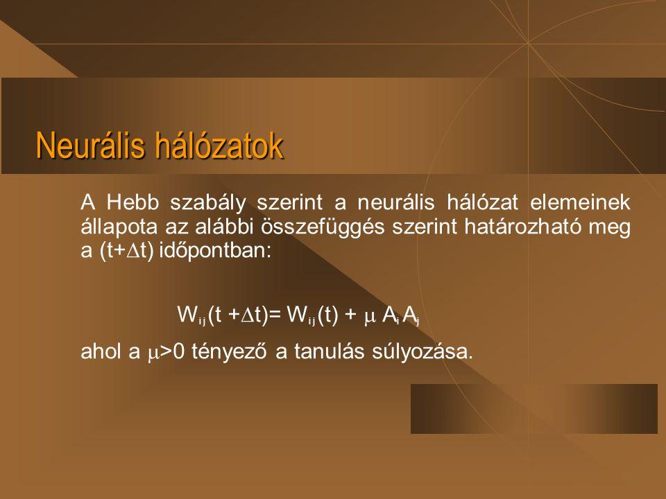 Neurális hálózatok A Hebb szabály szerint a neurális hálózat elemeinek állapota az alábbi összefüggés szerint határozható meg a (t+  t) időpontban: W
