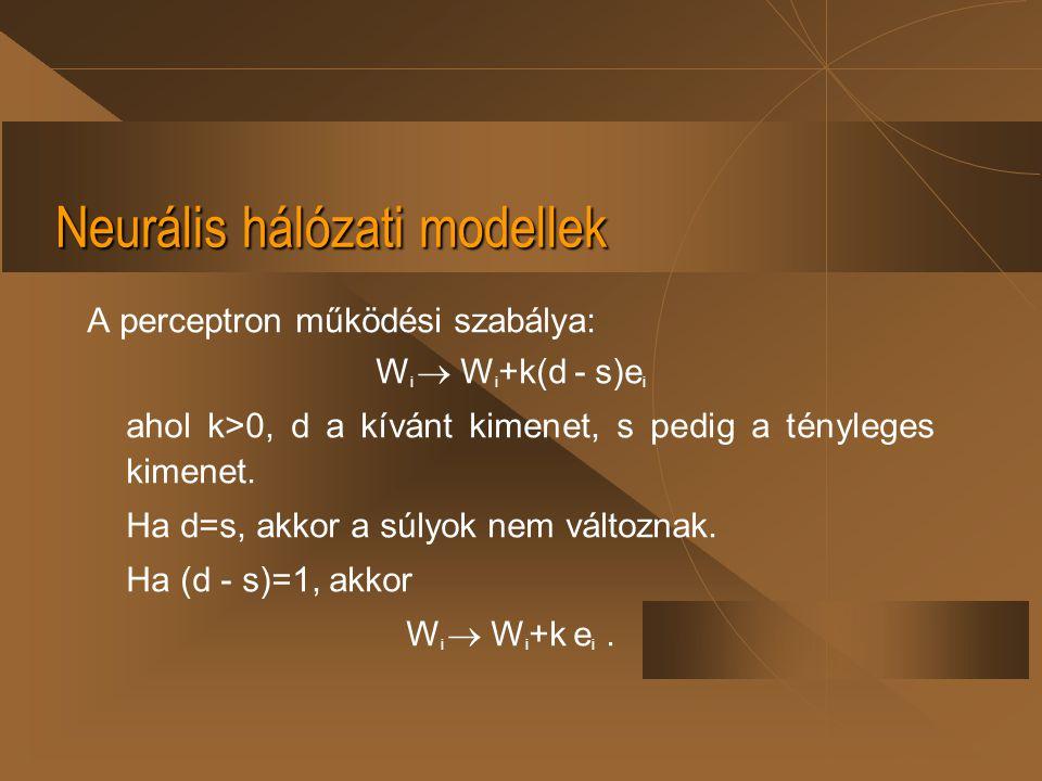 Neurális hálózati modellek A perceptron működési szabálya: W i  W i +k(d - s)e i ahol k>0, d a kívánt kimenet, s pedig a tényleges kimenet. Ha d=s, a