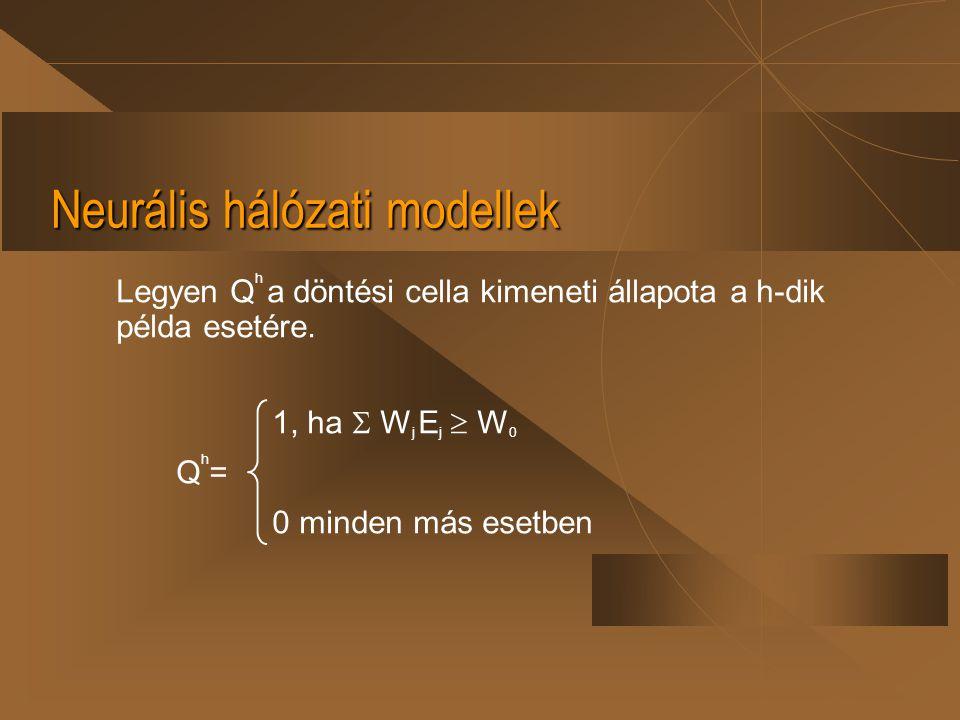 Neurális hálózati modellek Legyen Q h a döntési cella kimeneti állapota a h-dik példa esetére. 1, ha  W j E j  W 0 Q h = 0 minden más esetben