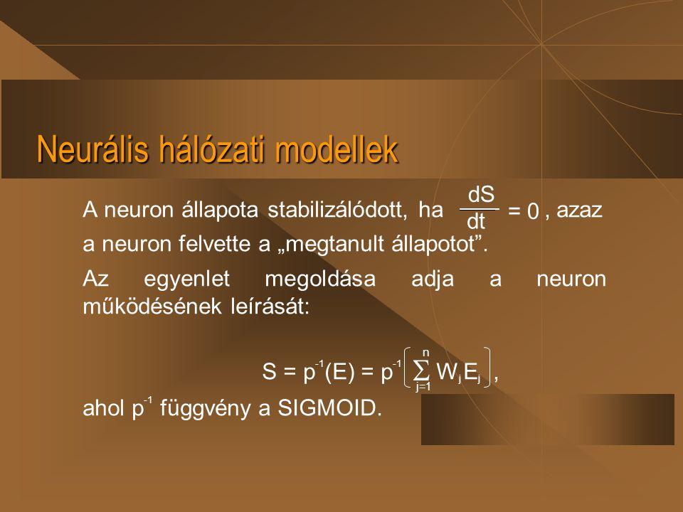 """Neurális hálózati modellek A neuron állapota stabilizálódott, ha, azaz a neuron felvette a """"megtanult állapotot"""". Az egyenlet megoldása adja a neuron"""