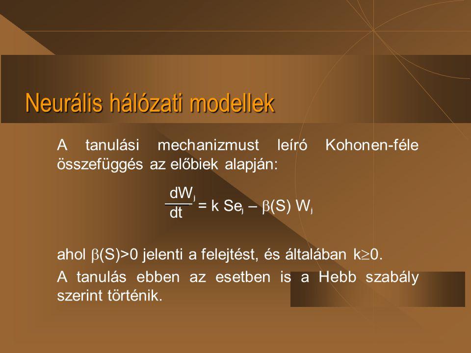 Neurális hálózati modellek A tanulási mechanizmust leíró Kohonen-féle összefüggés az előbiek alapján: ahol  (S)>0 jelenti a felejtést, és általában k