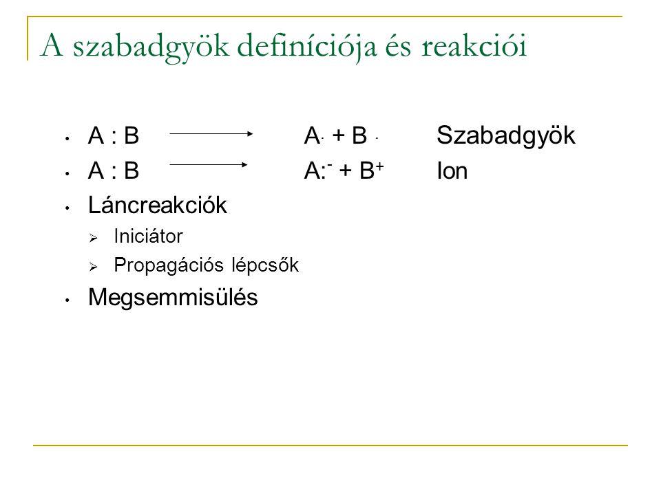 A szabadgyök definíciója és reakciói A : BA. + B. Szabadgyök A : BA: - + B + Ion Láncreakciók  Iniciátor  Propagációs lépcsők Megsemmisülés