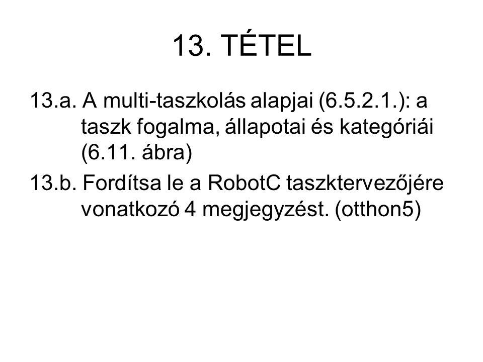 13. TÉTEL 13.a. A multi-taszkolás alapjai (6.5.2.1.): a taszk fogalma, állapotai és kategóriái (6.11. ábra) 13.b. Fordítsa le a RobotC taszktervezőjér