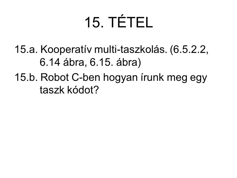15. TÉTEL 15.a. Kooperatív multi-taszkolás. (6.5.2.2, 6.14 ábra, 6.15. ábra) 15.b. Robot C-ben hogyan írunk meg egy taszk kódot?